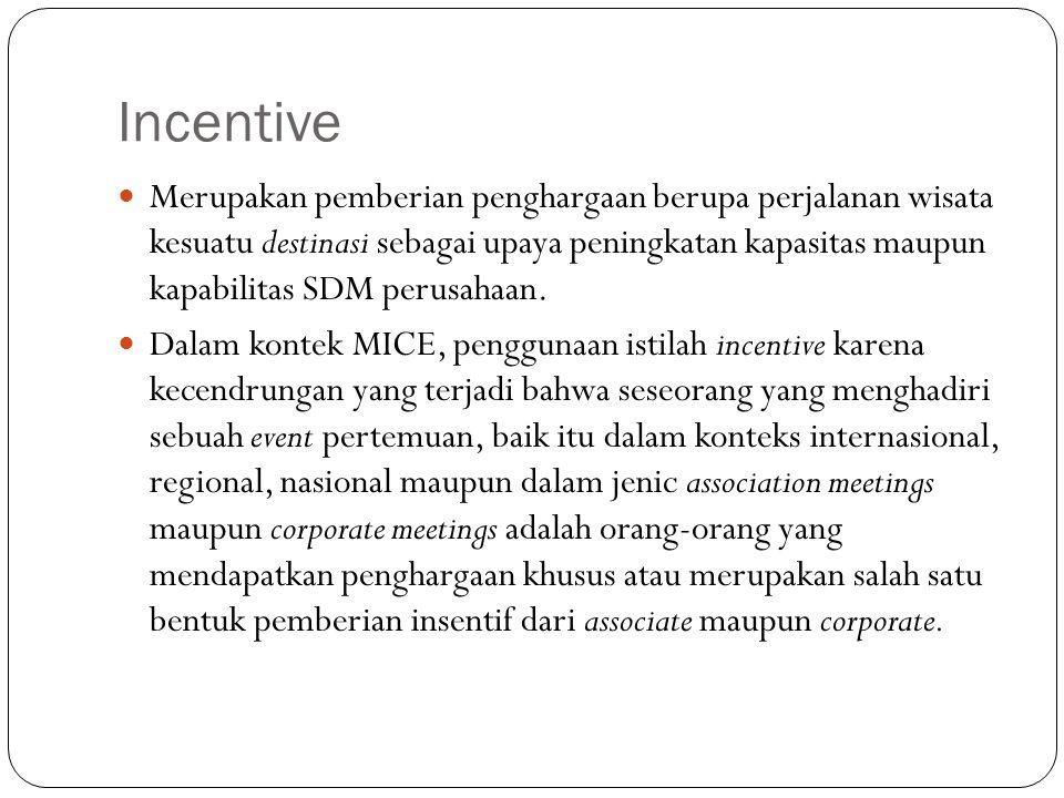 Incentive Merupakan pemberian penghargaan berupa perjalanan wisata kesuatu destinasi sebagai upaya peningkatan kapasitas maupun kapabilitas SDM perusa