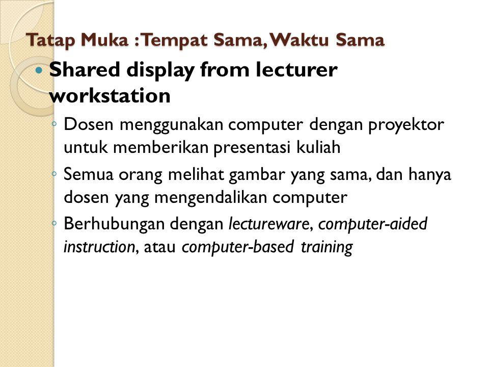 Tatap Muka : Tempat Sama, Waktu Sama Shared display from lecturer workstation ◦ Dosen menggunakan computer dengan proyektor untuk memberikan presentas