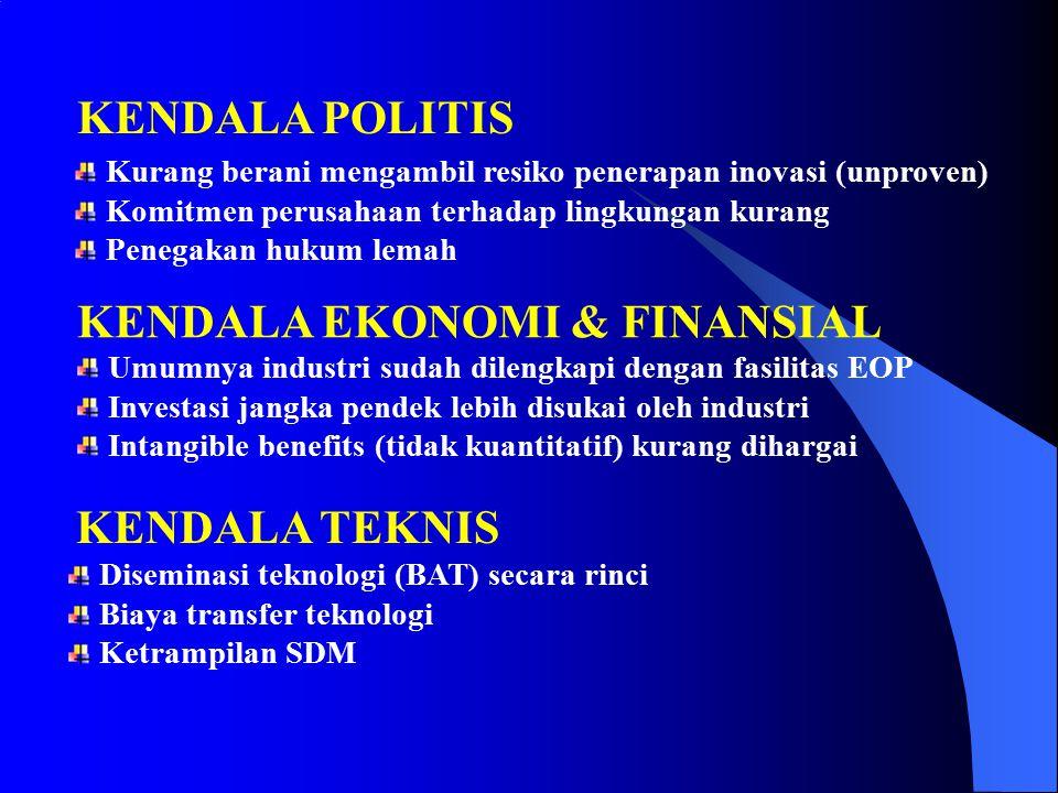 Finansial (30%) Teknis (10%) ketersediaan, ketrampilan & pengalaman Politis (60%) organisasi, peraturan KENDALA