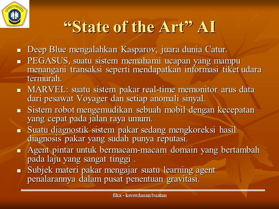 fika - kecerdasan buatan State of the Art AI Deep Blue mengalahkan Kasparov, juara dunia Catur.