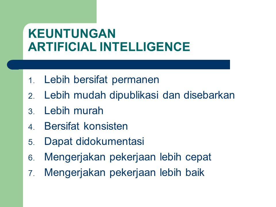 KEUNTUNGAN ARTIFICIAL INTELLIGENCE 1.Lebih bersifat permanen 2.