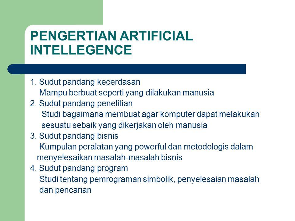 PENGERTIAN ARTIFICIAL INTELLEGENCE 1. Sudut pandang kecerdasan Mampu berbuat seperti yang dilakukan manusia 2. Sudut pandang penelitian Studi bagaiman