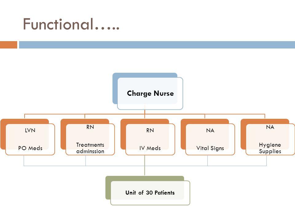 Functional….. Charge Nurse LVN PO Meds RN Treatments adminssion RN IV Meds Unit of 30 Patients NA Vital Signs NA Hygiene Supplies