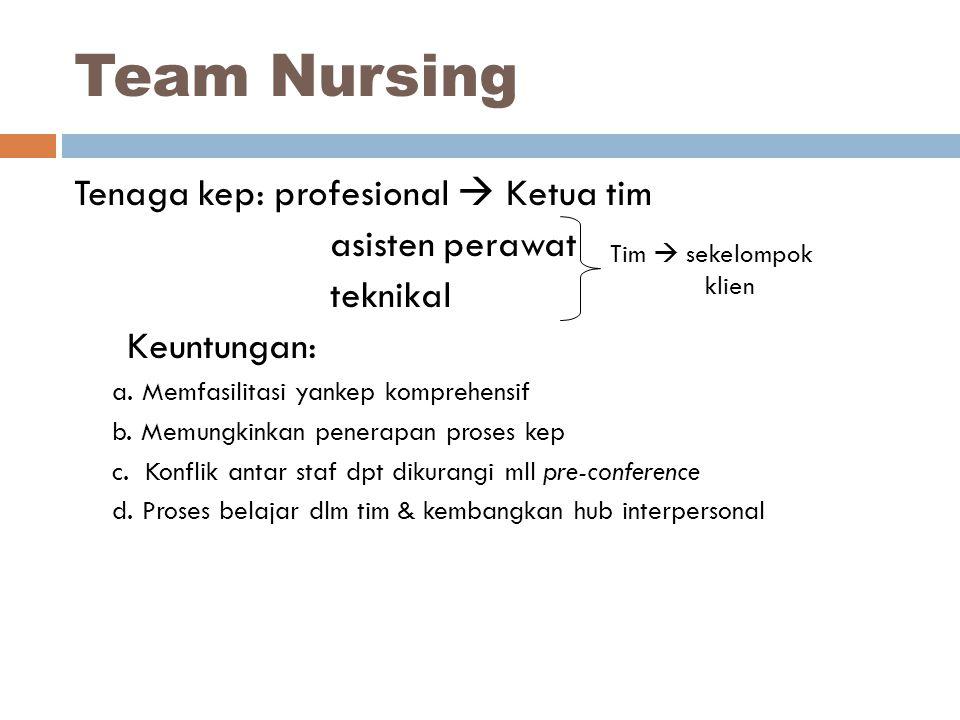 Tenaga kep: profesional  Ketua tim asisten perawat teknikal Keuntungan: a. Memfasilitasi yankep komprehensif b. Memungkinkan penerapan proses kep c.