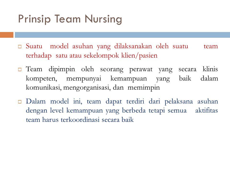 Prinsip Team Nursing  Suatu model asuhan yang dilaksanakan oleh suatu team terhadap satu atau sekelompok klien/pasien  Team dipimpin oleh seorang pe