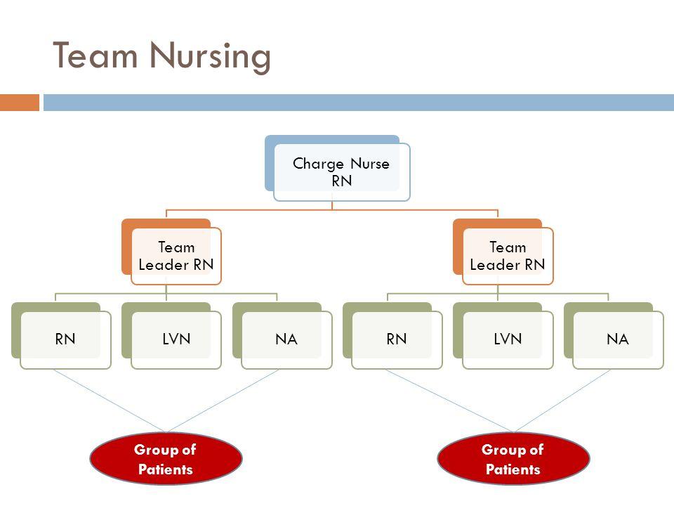 Team Nursing Charge Nurse RN Team Leader RN RNLVNNA Team Leader RN RNLVNNA Group of Patients