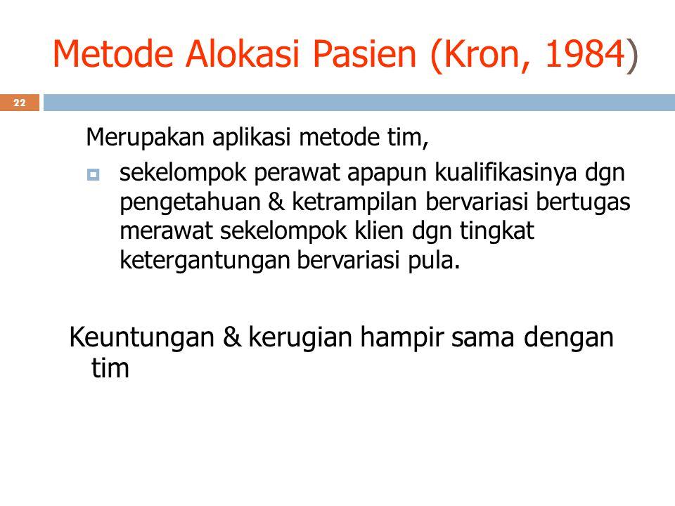 Metode Alokasi Pasien (Kron, 1984) Merupakan aplikasi metode tim,  sekelompok perawat apapun kualifikasinya dgn pengetahuan & ketrampilan bervariasi
