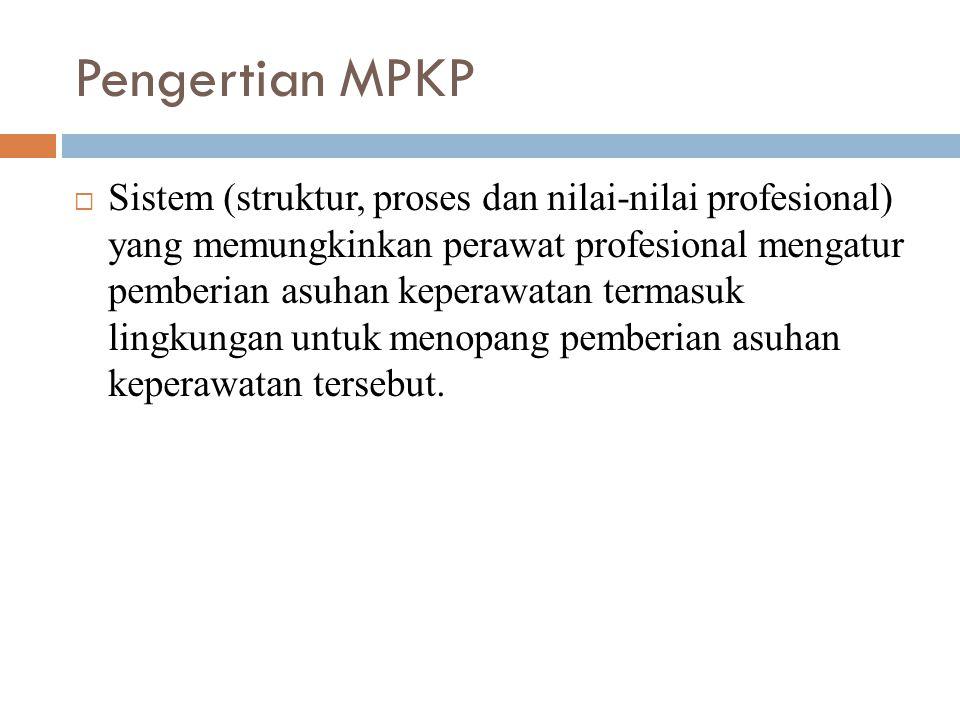 Pengertian MPKP  Sistem (struktur, proses dan nilai-nilai profesional) yang memungkinkan perawat profesional mengatur pemberian asuhan keperawatan te