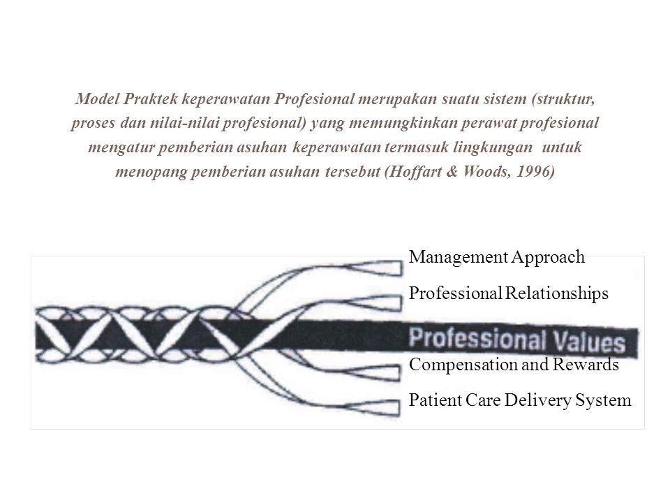 Management Approach Professional Relationships Compensation and Rewards Patient Care Delivery System Model Praktek keperawatan Profesional merupakan s