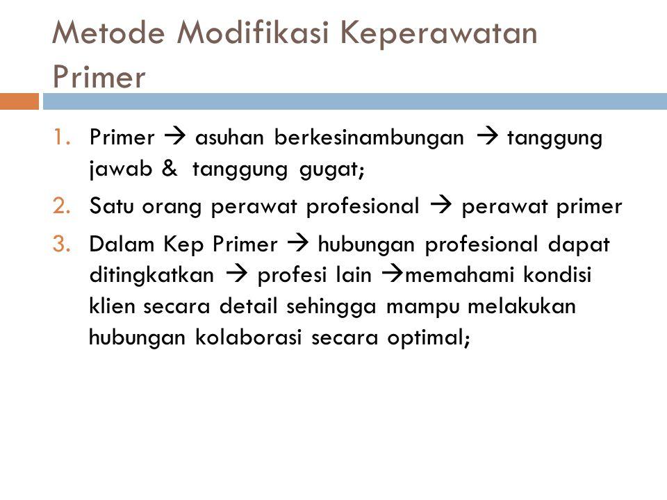 Metode Modifikasi Keperawatan Primer 1.Primer  asuhan berkesinambungan  tanggung jawab & tanggung gugat; 2.Satu orang perawat profesional  perawat
