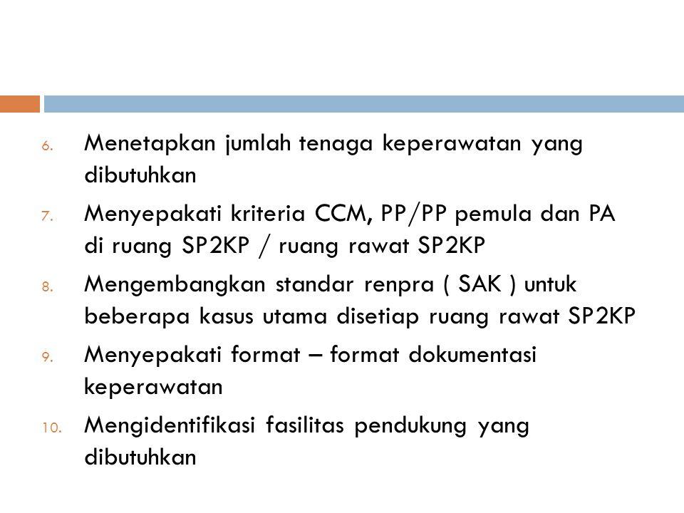 6. Menetapkan jumlah tenaga keperawatan yang dibutuhkan 7. Menyepakati kriteria CCM, PP/PP pemula dan PA di ruang SP2KP / ruang rawat SP2KP 8. Mengemb