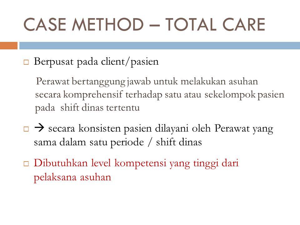CASE METHOD – TOTAL CARE  Berpusat pada client/pasien Perawat bertanggung jawab untuk melakukan asuhan secara komprehensif terhadap satu atau sekelom