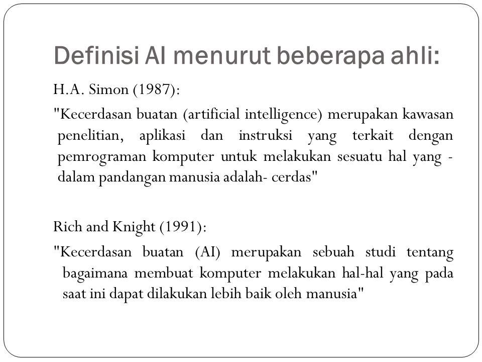 Definisi AI menurut beberapa ahli: H.A. Simon (1987):