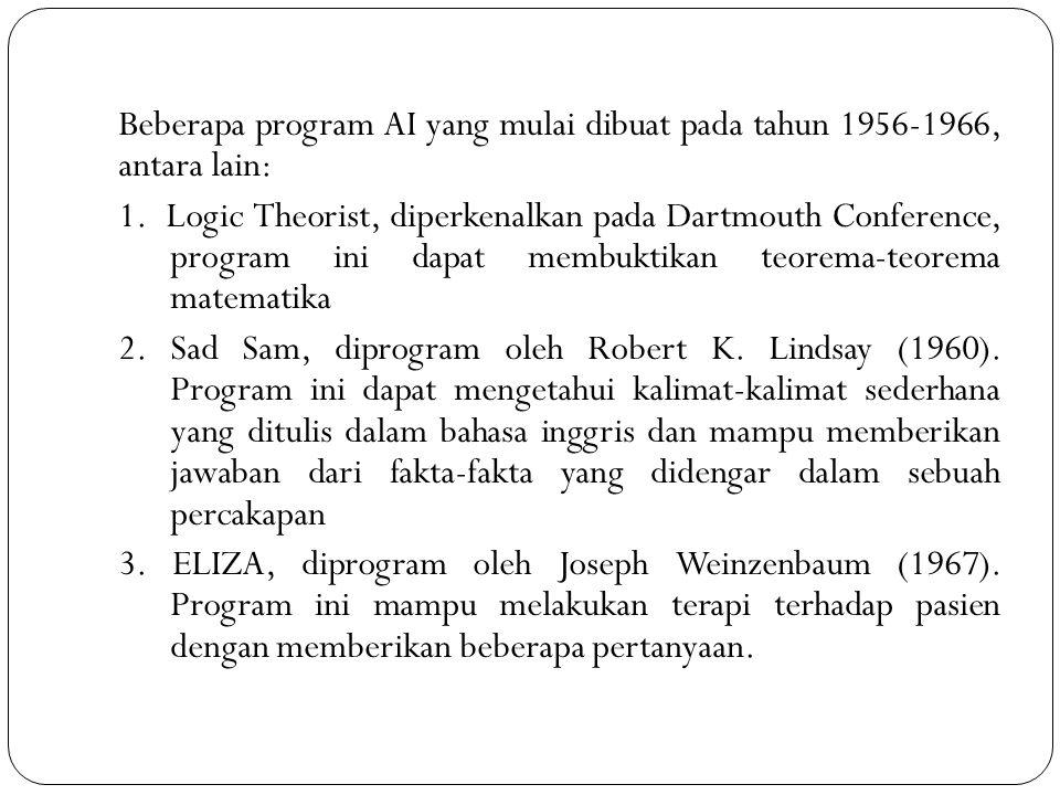 Beberapa program AI yang mulai dibuat pada tahun 1956-1966, antara lain: 1. Logic Theorist, diperkenalkan pada Dartmouth Conference, program ini dapat