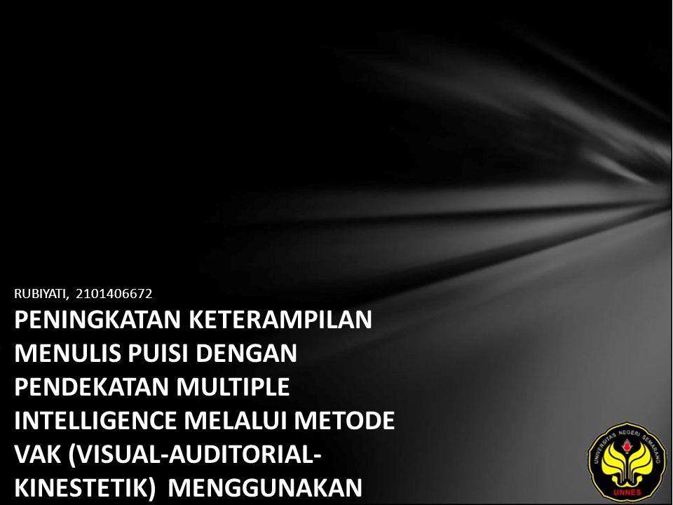 Identitas Mahasiswa - NAMA : RUBIYATI - NIM : 2101406672 - PRODI : Pendidikan Bahasa, Sastra Indonesia, dan Daerah (Pendidikan Bahasa dan Sastra Indonesia) - JURUSAN : Bahasa & Sastra Indonesia - FAKULTAS : Bahasa dan Seni - EMAIL : moodzy_girl pada domain plasa.com - PEMBIMBING 1 : Prof.Dr.Agus Nuryatin,M.Hum.