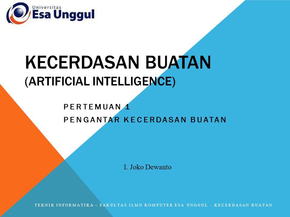 2 BAGIAN UTAMA AI Basis Pengetahuan (knowledge base) berisi fakta-fakta, teori, pemikiran dan hubungan komponen satu dengan yang lainnya Motor Inferensi (inference engine) Kemampuan menarik kesimpulan berdasar pengalaman.
