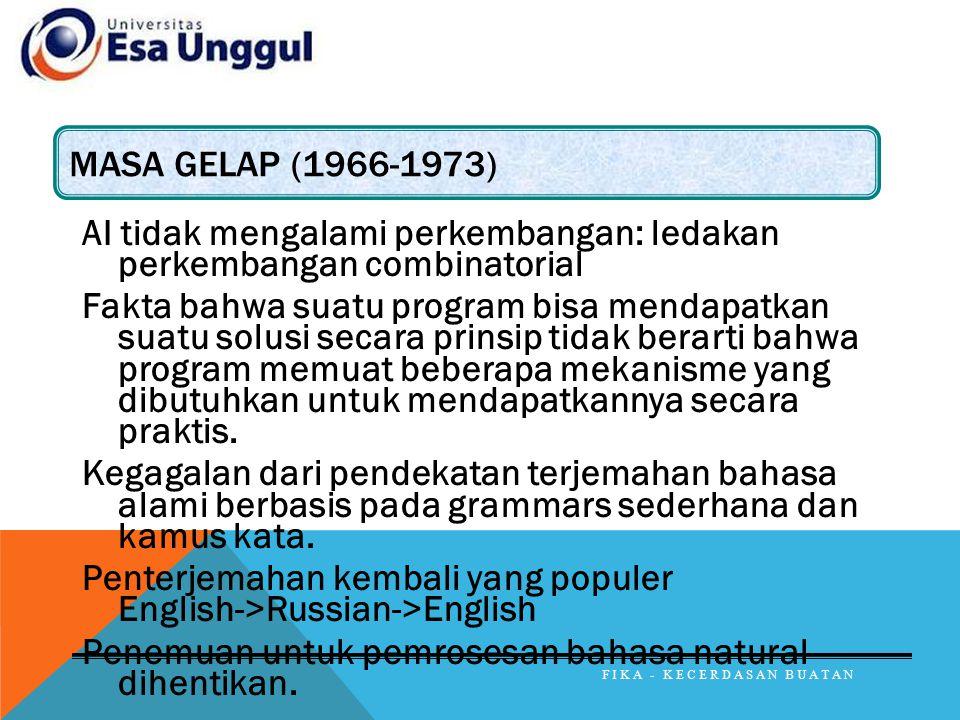 MASA GELAP (1966-1973) AI tidak mengalami perkembangan: ledakan perkembangan combinatorial Fakta bahwa suatu program bisa mendapatkan suatu solusi sec