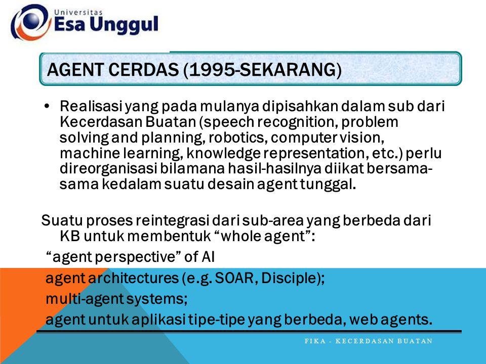 AGENT CERDAS (1995-SEKARANG) Realisasi yang pada mulanya dipisahkan dalam sub dari Kecerdasan Buatan (speech recognition, problem solving and planning