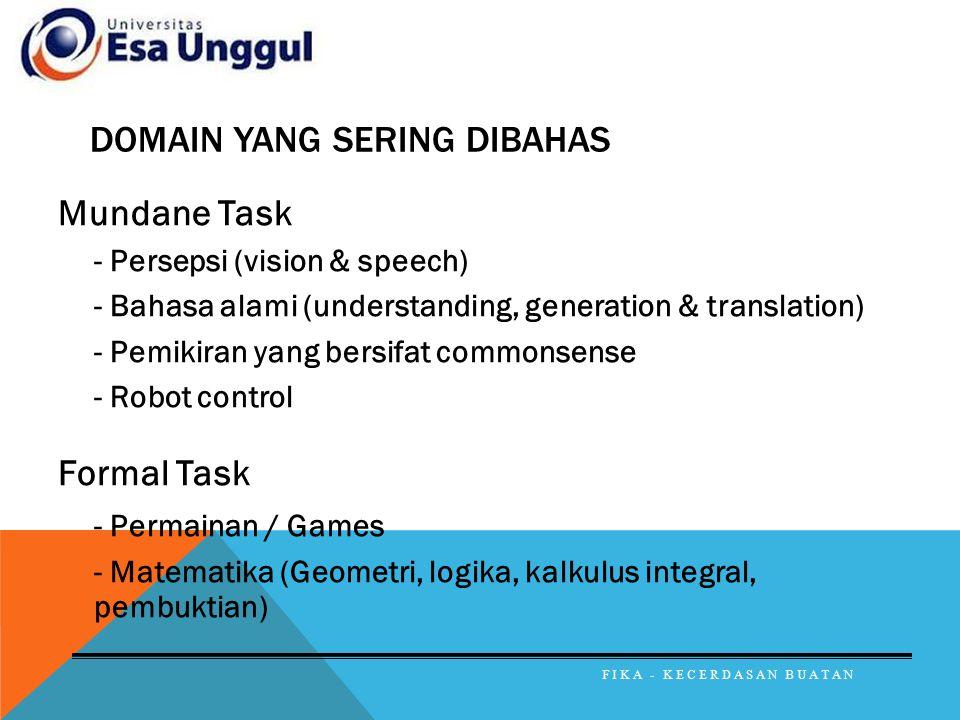 DOMAIN YANG SERING DIBAHAS Mundane Task - Persepsi (vision & speech) - Bahasa alami (understanding, generation & translation) - Pemikiran yang bersifa