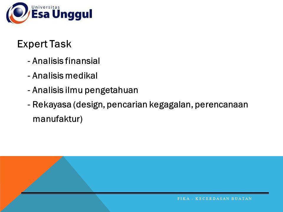 Expert Task - Analisis finansial - Analisis medikal - Analisis ilmu pengetahuan - Rekayasa (design, pencarian kegagalan, perencanaan manufaktur) FIKA