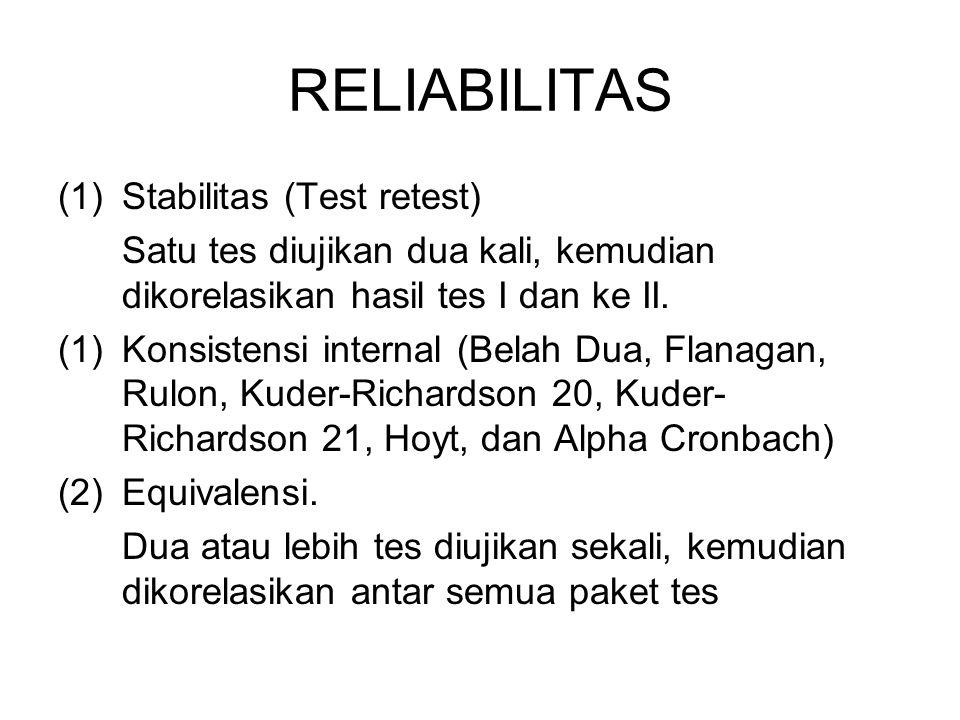 RELIABILITAS (1)Stabilitas (Test retest) Satu tes diujikan dua kali, kemudian dikorelasikan hasil tes I dan ke II. (1)Konsistensi internal (Belah Dua,