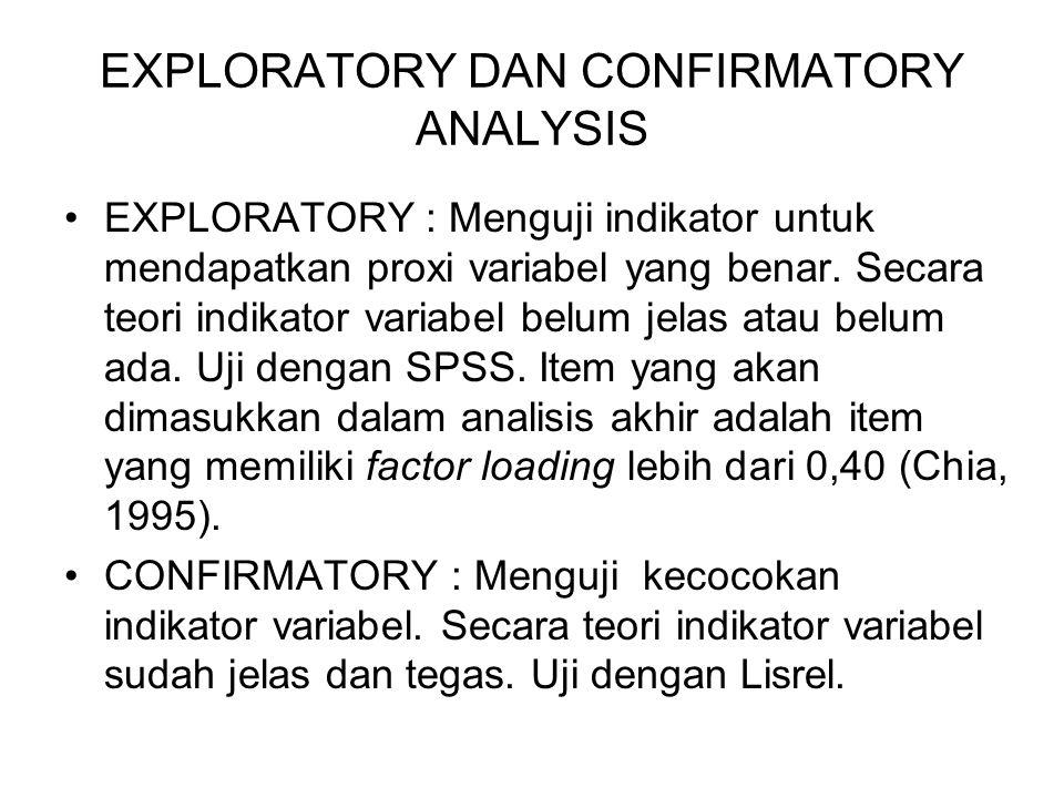 EXPLORATORY DAN CONFIRMATORY ANALYSIS EXPLORATORY : Menguji indikator untuk mendapatkan proxi variabel yang benar. Secara teori indikator variabel bel