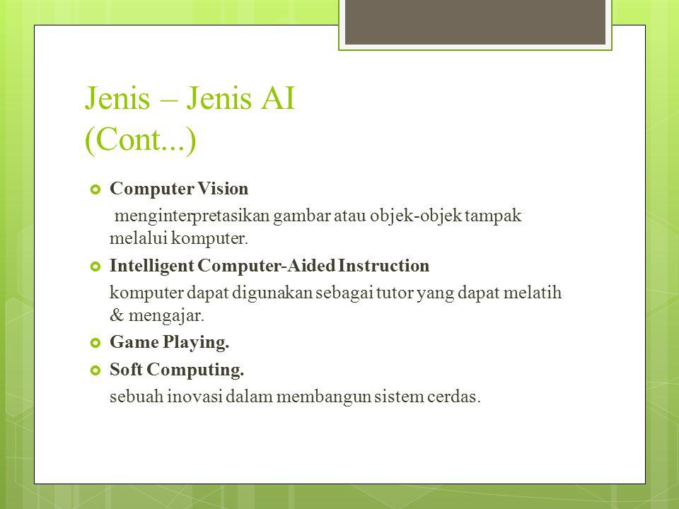 Jenis – Jenis AI (Cont...)  Computer Vision menginterpretasikan gambar atau objek-objek tampak melalui komputer.  Intelligent Computer-Aided Instruc