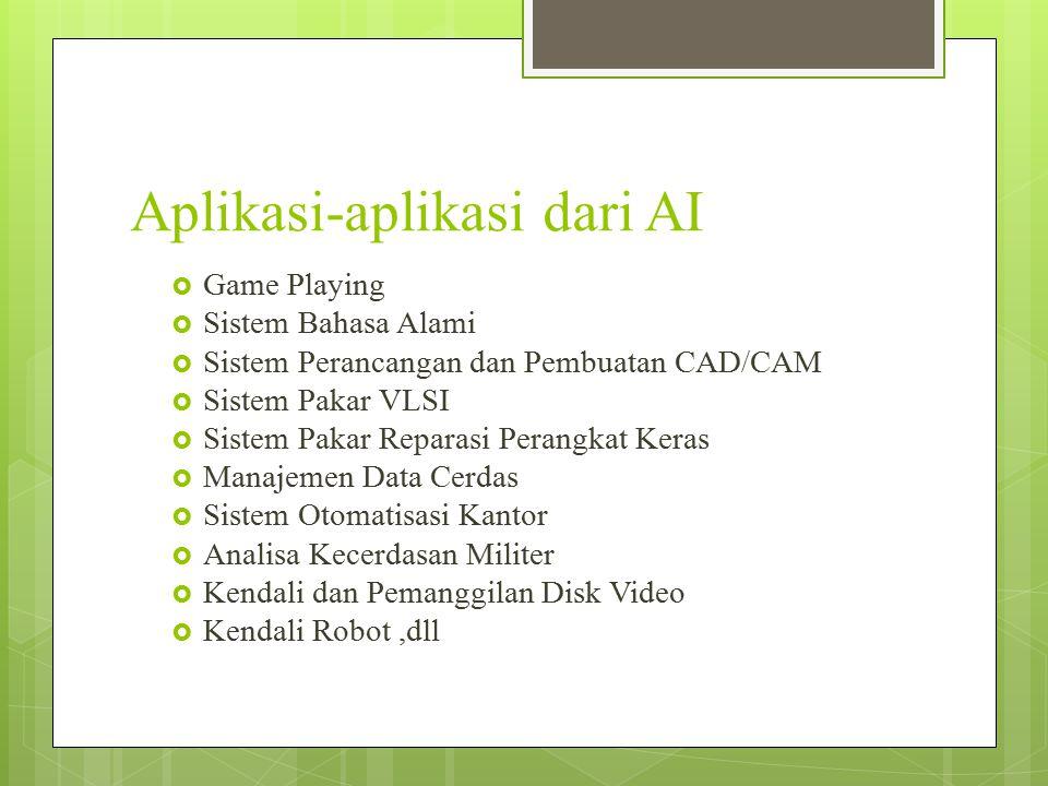 Aplikasi-aplikasi dari AI  Game Playing  Sistem Bahasa Alami  Sistem Perancangan dan Pembuatan CAD/CAM  Sistem Pakar VLSI  Sistem Pakar Reparasi