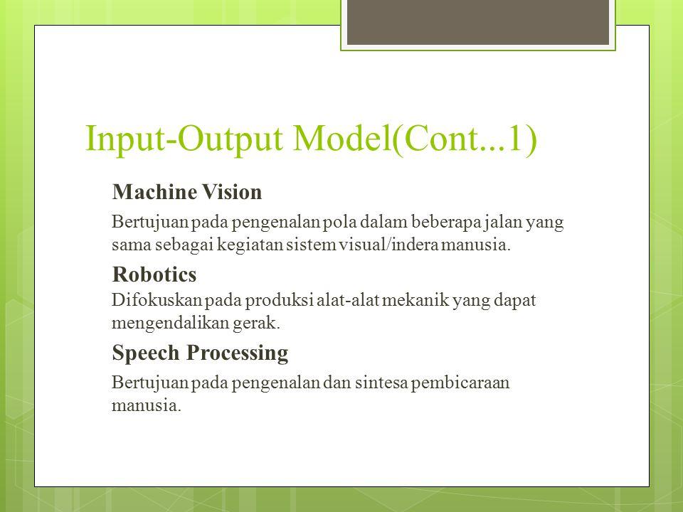 Input-Output Model(Cont...1) Machine Vision Bertujuan pada pengenalan pola dalam beberapa jalan yang sama sebagai kegiatan sistem visual/indera manusi