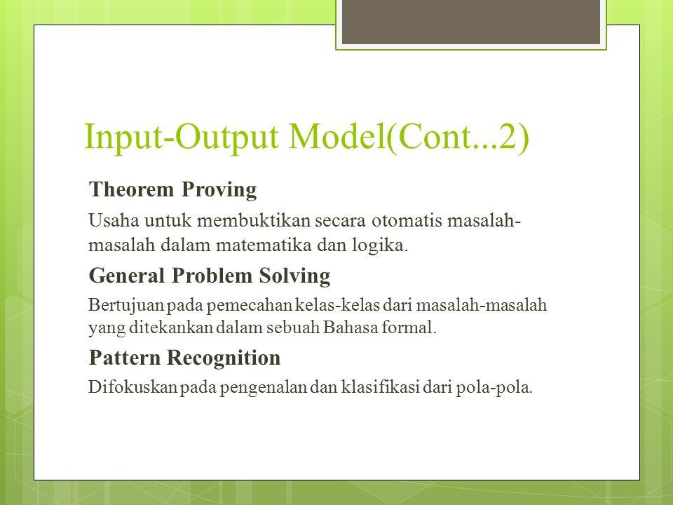 Input-Output Model(Cont...2) Theorem Proving Usaha untuk membuktikan secara otomatis masalah- masalah dalam matematika dan logika. General Problem Sol