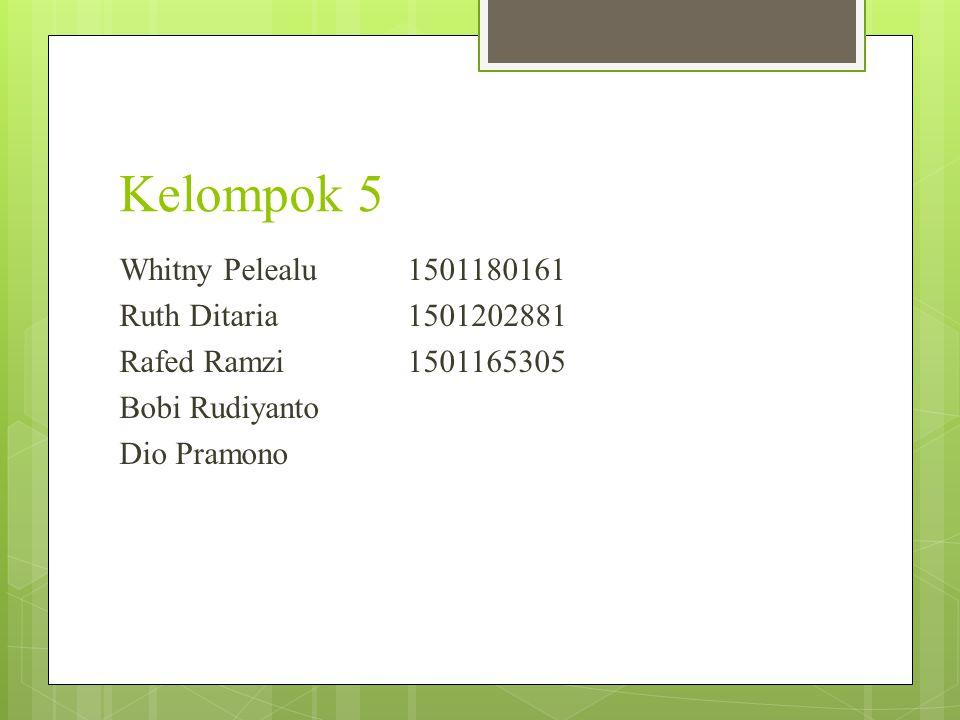 Kelompok 5 Whitny Pelealu 1501180161 Ruth Ditaria 1501202881 Rafed Ramzi1501165305 Bobi Rudiyanto Dio Pramono