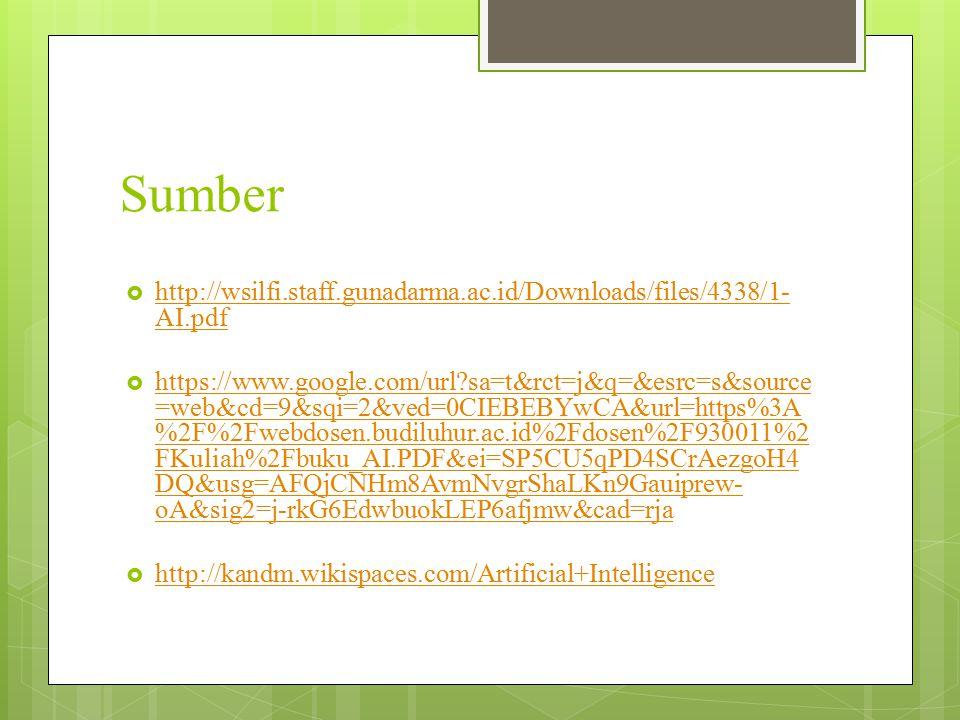 Sumber  http://wsilfi.staff.gunadarma.ac.id/Downloads/files/4338/1- AI.pdf http://wsilfi.staff.gunadarma.ac.id/Downloads/files/4338/1- AI.pdf  https