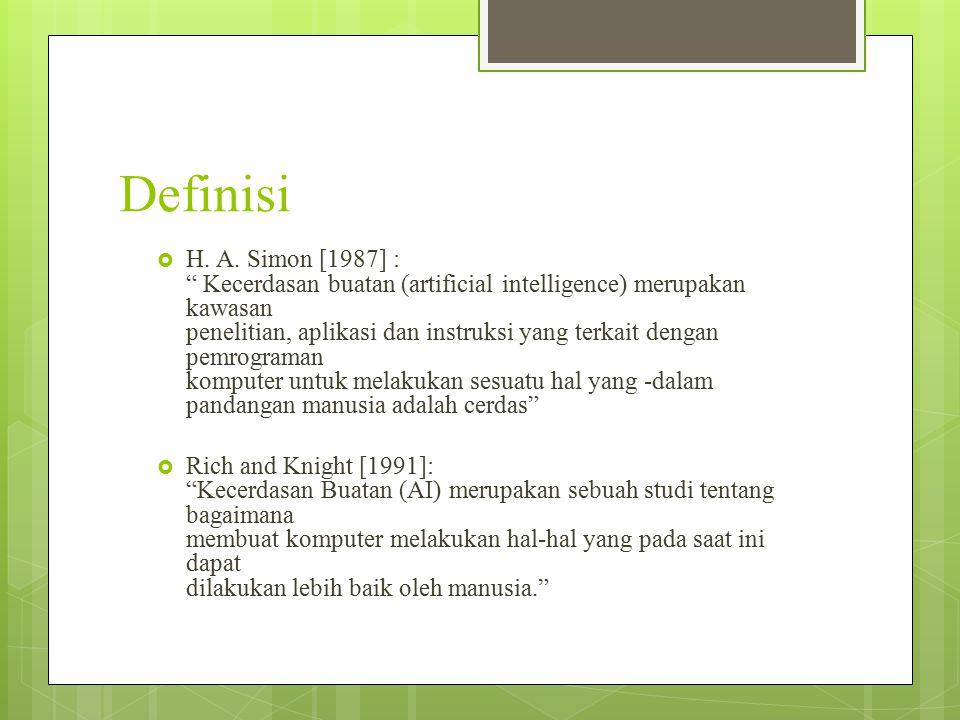 " H. A. Simon [1987] : "" Kecerdasan buatan (artificial intelligence) merupakan kawasan penelitian, aplikasi dan instruksi yang terkait dengan pemrogra"