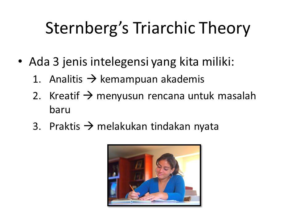 Sternberg's Triarchic Theory Ada 3 jenis intelegensi yang kita miliki: 1.Analitis  kemampuan akademis 2.Kreatif  menyusun rencana untuk masalah baru
