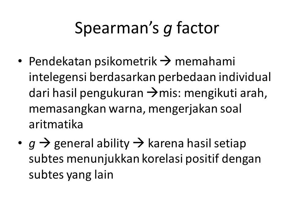 Spearman's g factor s  specific ability  mis: mekanikal, musikal, aritmatika, logika dan kemampuan spasial Penjelasan tentang faktor g : – Adanya mental speed atau working memory yang mendasari berbagai jenis kecerdasan – Adanya faktor pertumbuhan yang sama dan mendasari seluruh kemampuan intelektual