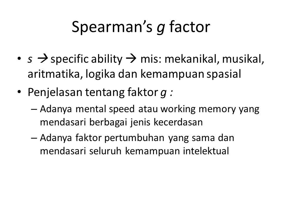 Spearman's g factor s  specific ability  mis: mekanikal, musikal, aritmatika, logika dan kemampuan spasial Penjelasan tentang faktor g : – Adanya me