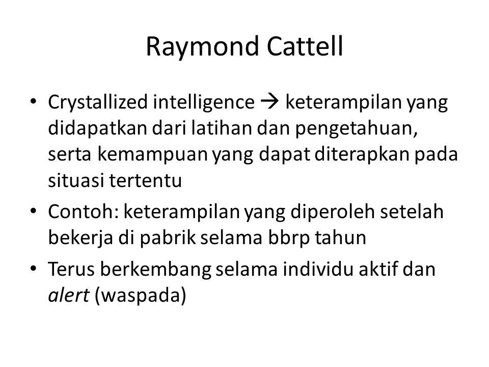 Raymond Cattell Crystallized intelligence  keterampilan yang didapatkan dari latihan dan pengetahuan, serta kemampuan yang dapat diterapkan pada situ