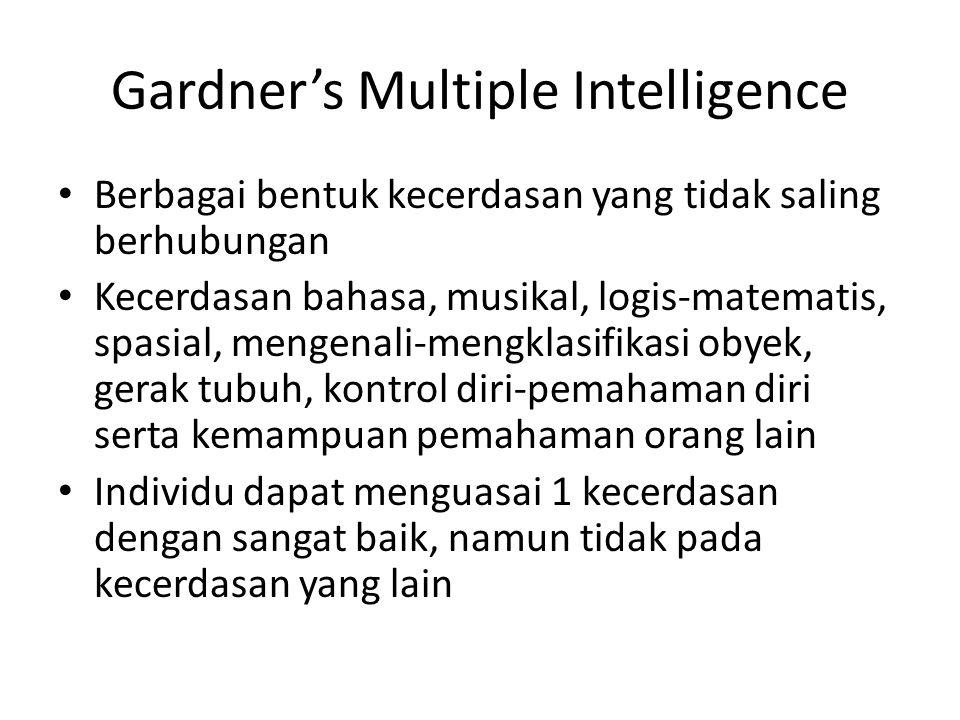 Gardner's Multiple Intelligence Berbagai bentuk kecerdasan yang tidak saling berhubungan Kecerdasan bahasa, musikal, logis-matematis, spasial, mengena
