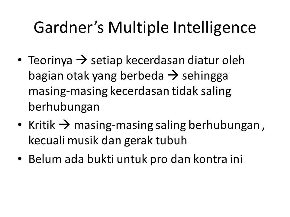 Gardner's Multiple Intelligence Teorinya  setiap kecerdasan diatur oleh bagian otak yang berbeda  sehingga masing-masing kecerdasan tidak saling ber