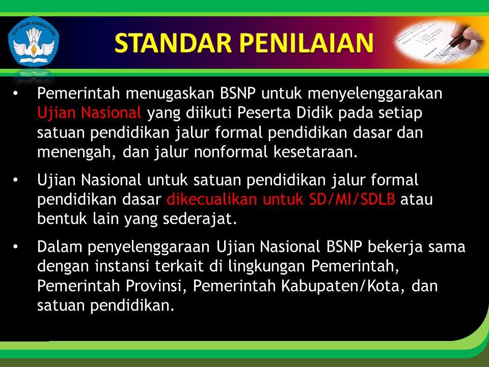Click to edit Master title style Pemerintah menugaskan BSNP untuk menyelenggarakan Ujian Nasional yang diikuti Peserta Didik pada setiap satuan pendid
