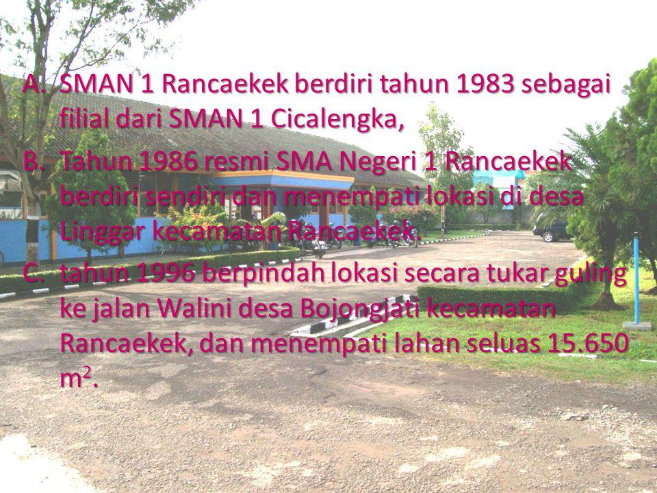 SEJARAH SINGKAT A.SMAN 1 Rancaekek berdiri tahun 1983 sebagai filial dari SMAN 1 Cicalengka, B.Tahun 1986 resmi SMA Negeri 1 Rancaekek berdiri sendiri