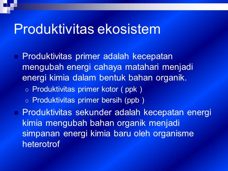 Produktivitas ekosistem Produktivitas primer adalah kecepatan mengubah energi cahaya matahari menjadi energi kimia dalam bentuk bahan organik.