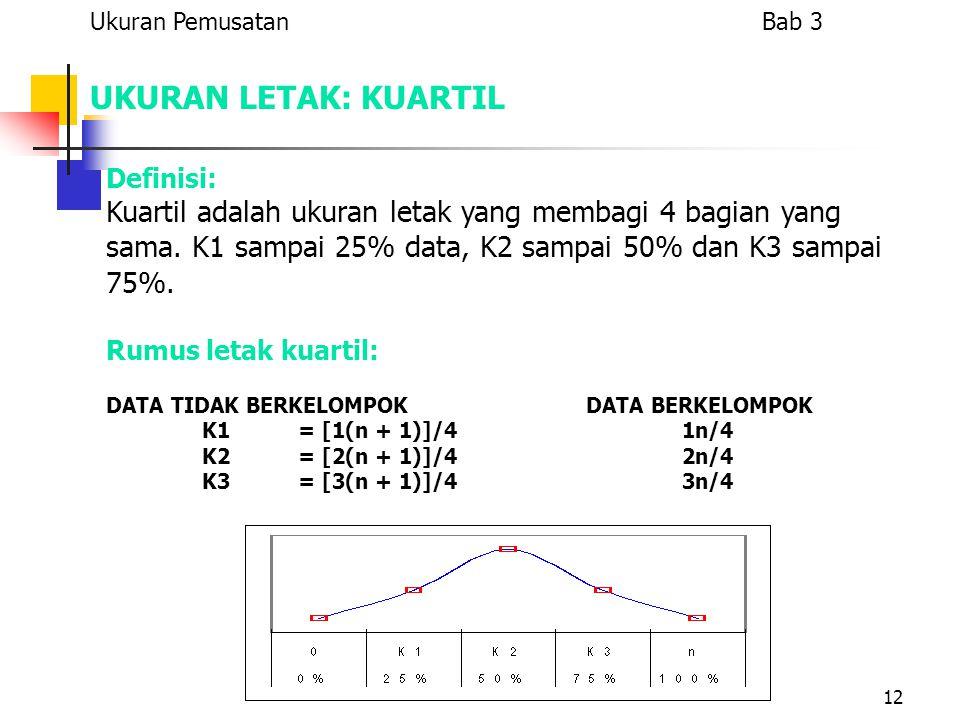 12 UKURAN LETAK: KUARTIL Definisi: Kuartil adalah ukuran letak yang membagi 4 bagian yang sama. K1 sampai 25% data, K2 sampai 50% dan K3 sampai 75%. R