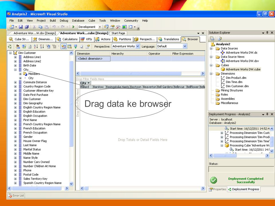 Drag data ke browser