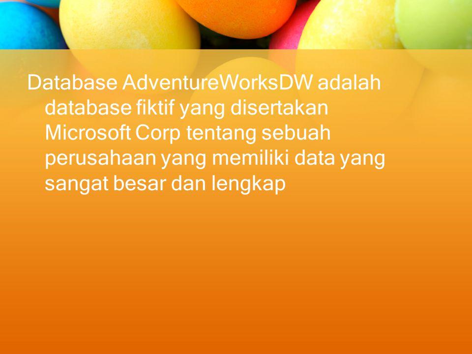 Database AdventureWorksDW adalah database fiktif yang disertakan Microsoft Corp tentang sebuah perusahaan yang memiliki data yang sangat besar dan lengkap