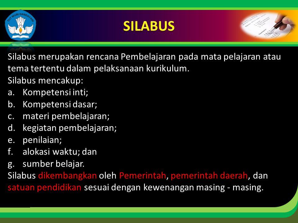Click to edit Master title style Silabus merupakan rencana Pembelajaran pada mata pelajaran atau tema tertentu dalam pelaksanaan kurikulum.