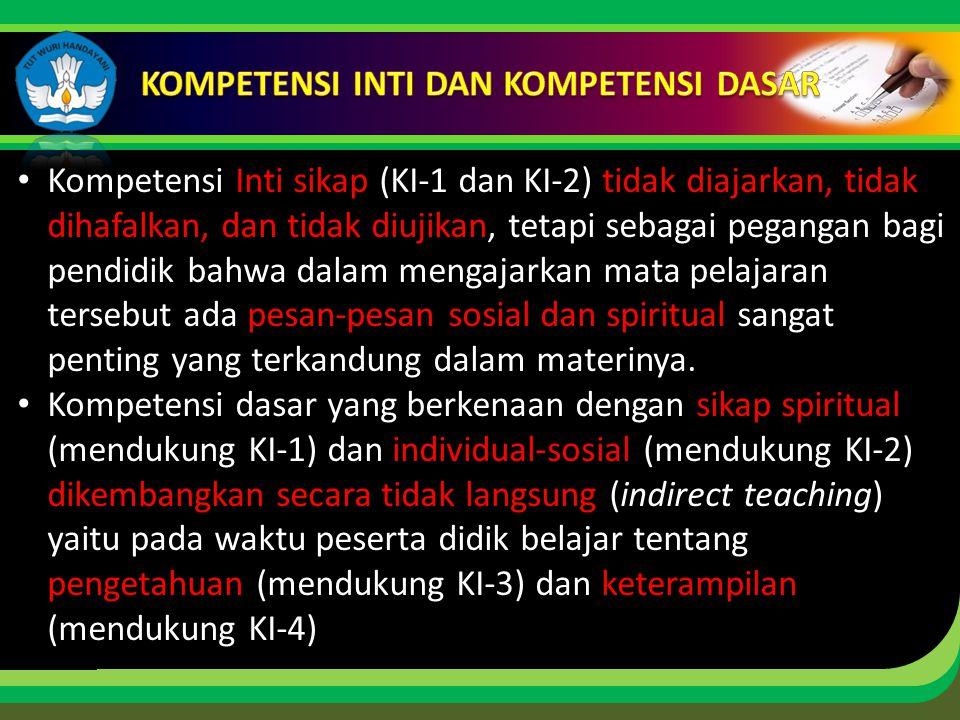 Click to edit Master title style Kompetensi Inti sikap (KI-1 dan KI-2) tidak diajarkan, tidak dihafalkan, dan tidak diujikan, tetapi sebagai pegangan bagi pendidik bahwa dalam mengajarkan mata pelajaran tersebut ada pesan-pesan sosial dan spiritual sangat penting yang terkandung dalam materinya.