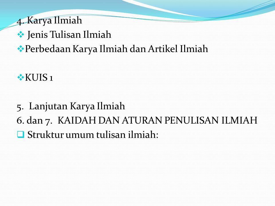 4.Karya Ilmiah  Jenis Tulisan Ilmiah  Perbedaan Karya Ilmiah dan Artikel Ilmiah  KUIS 1 5.