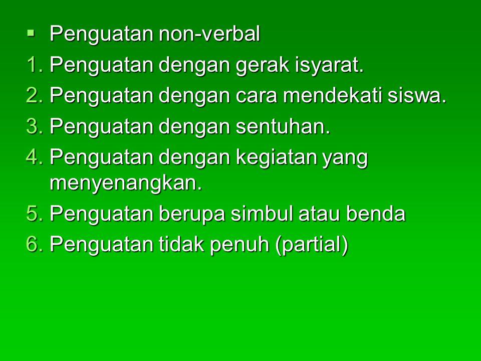 Penguatan non-verbal 1.Penguatan dengan gerak isyarat. 2.Penguatan dengan cara mendekati siswa. 3.Penguatan dengan sentuhan. 4.Penguatan dengan kegi