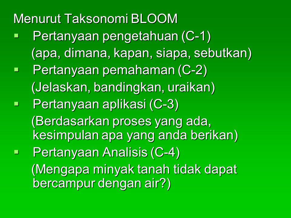 Menurut Taksonomi BLOOM  Pertanyaan pengetahuan (C-1) (apa, dimana, kapan, siapa, sebutkan) (apa, dimana, kapan, siapa, sebutkan)  Pertanyaan pemaha